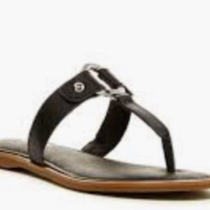 Sperry Carolina Black Leather Thong Sandals